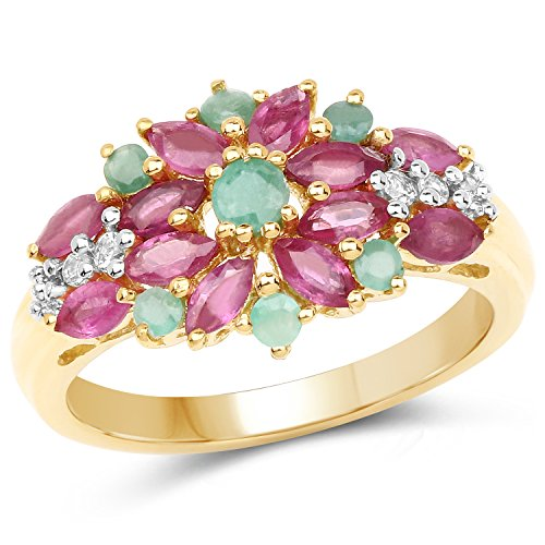 14K Yellow Gold Plated 1.86 Carat Glass Filled Ruby, Emerald and White Topaz .925 Sterling Silver Ring