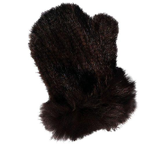 MinkgLove Knitted Mahogany Brown Mink Massage Glove Mitten - Double Sided Fur