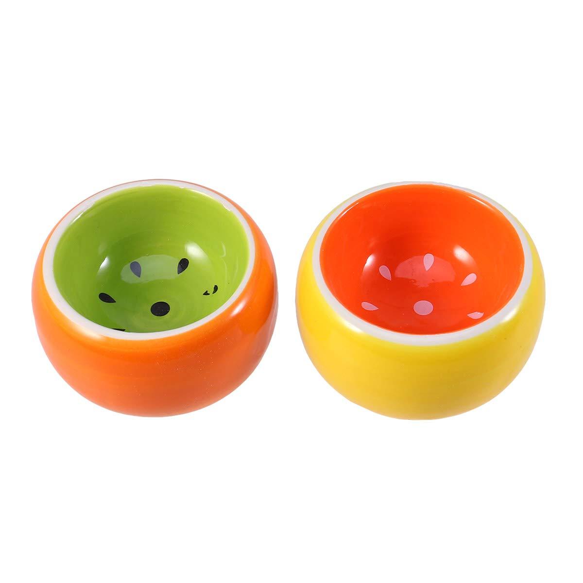 POPETPOP 2pcs Ceramic Hamster Feeding Bowl Colorful pet Food Bowl for Hamster pet Animal