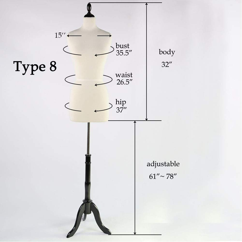Clothing 6, Beige Dress Body Display PDM Worldwide Female Mannequin Torso Pinnable Dress Form with Wooden Tripod Stand Adjustable Height 61-78 for Sewing