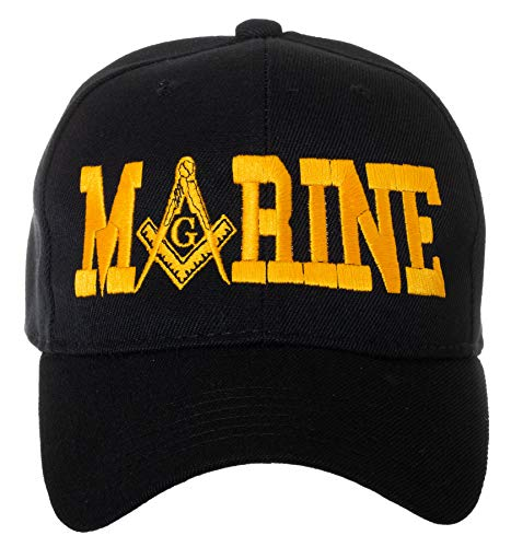 United States Marine Corps Masonic Square and Compass Embroidered Black Baseball Cap