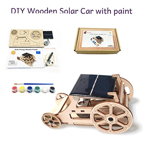 Car Solar Robot Kit - 3D DIY Wooden Solar Car Robotics Engineering Maker Kit - STEM Circuit Building Kits Creative Project with Motor Color Brush - Model Toy Educational Activity - Science Experiment For Kids, Teens
