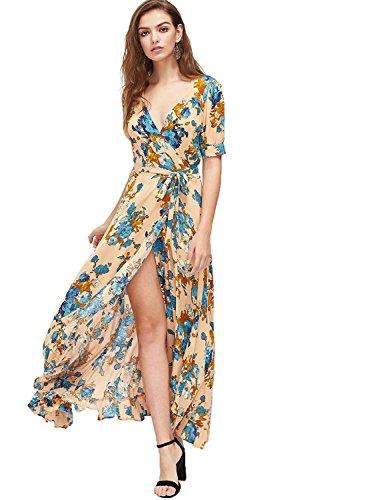 Milumia Women's Vintage Floral Print Split Wrap Maxi Dress (Large, Multicolor-Orange)