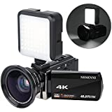 4K Camcorder Digital Video Camera Recorder Vlogging Camera NESENNI HD 48.0MP 3.0 inch Touch Screen IR Night Vision 16X Digital Zoom Camera with 2 Batteries,Led Video Light and Wide Angle Lens(614KWL)