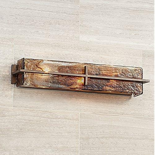 """Bronze Gold Art Glass 23 3/4"""" Wide Bathroom Light Fixture hot sale 2017"""