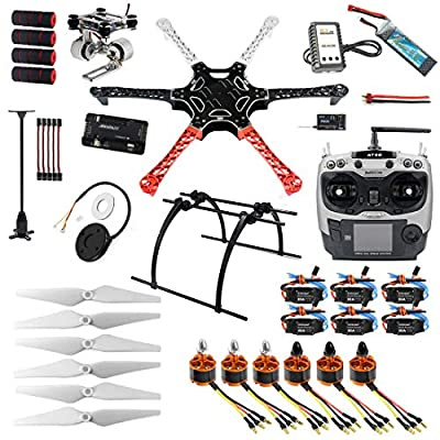 QWinOut Assembled RTF Full Set 2.4G 9Ch F550 APM2.8 GPS Compass Hexacopter Combo DIY Drone with 2-Axle Aluminum Gimbal Mount for Gopro (No Manual) from QWinOut
