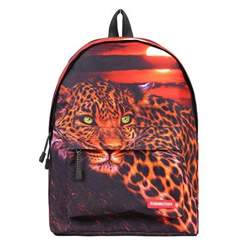 Runningtiger Unique 3D Animal Print Basic Multipurpose Backpacks For Teenagers Kids Schoolbags Travel Bags Laptop Backpacks (leopard print) -