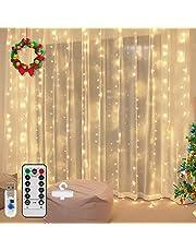 Vegena LED-ljusslinga 300 lysdioder, 3 m x 3 m LED USB ljusslinga gardin 8 lägen vattenfall ljusslingor gardin för fest dekoration sovrum jul inomhusbelysning dekoration varm vit (varmvit)