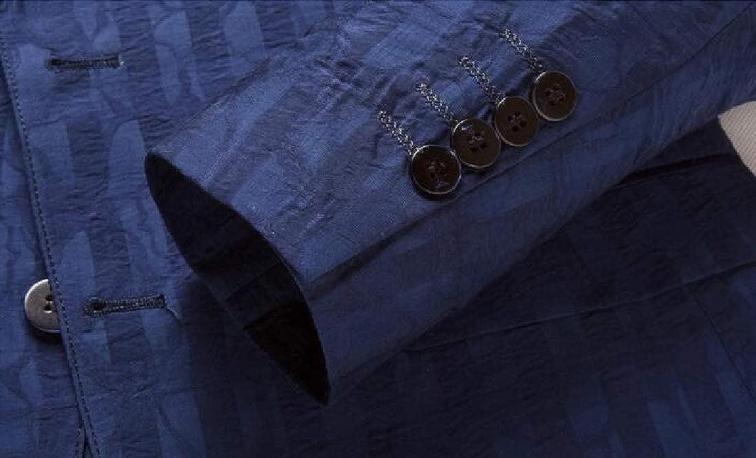 SHOWNO Mens Casual Two Button Print Business Regular Fit Blazer Jacket Suit Coat