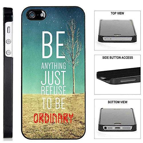 [TeleSkins] - iPhone SE / 5S / 5 Plastic Case - Refuse To Be Ordinary Inspirational Hipster Quote - Ultra Durable Slim Fit, Protective Plastic Snap On Back Case / Cover - Ordinary Audio Cables