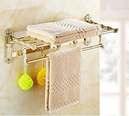 (L.I. Ventilo-Converter of Bathroom, Dry-Towels in Polished Stainless Steel, Gold Plated Folding Tray Double Dry-Towels)