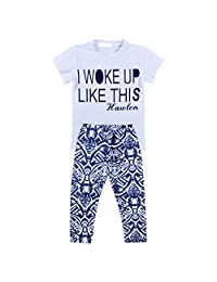 Kids Baby Girls Outfit Clothes T-shirt Tops+Long Pants Trousers - White+Navy blue, 130cm