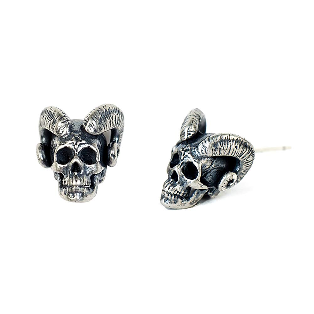 3a1df13d3 Amazon.com: Mens Women Sterling Silver Skull Stud Earrings (Mw10): Clothing