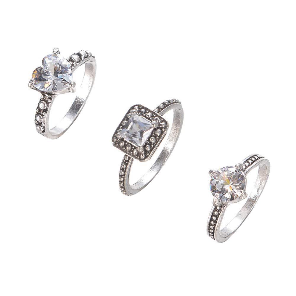 XBKPLO 2019 3PCS Rings New Exquisite Women's Zircon Diamond Fashion Ring Wedding Gift
