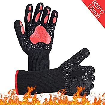 BBQ Oven Gloves,Heat Resistant Grill Gloves, Barbeque/Barbecue Gloves for Smoker,Oven Mitts Gloves,Hot Glove for Baking,Fireplace,Cutting,Baking,1 Pair (13inch)