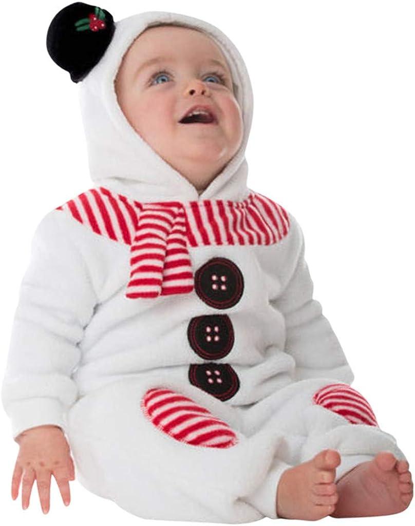 0-24 Mesi Pagliaccetto Bambini Pigiama Invernali Neonata Pigiama Inverno Caldo Tuta Pupazzo Neve Costumi Body Tutine Natalizi Abbigliamento Babbo//Bianco SUDADY Natale Bambino Costume Neonato Tuta