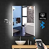 "vanity mirrors for bathroom Stamo 24""x32"" Bathroom LED Light Vanity Mirror Makeup Mirror, Bluetooth Anti-Fog Dimmable, Bathroom Vanity Mirror Backlit LED Lighted Wall Mounted Mirror for Multipurpose"