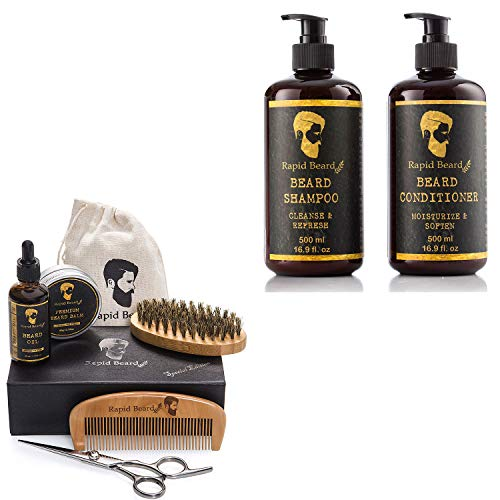 Beard Grooming & Trimming Kit and Beard Conditioner Wash & Growth Bundle