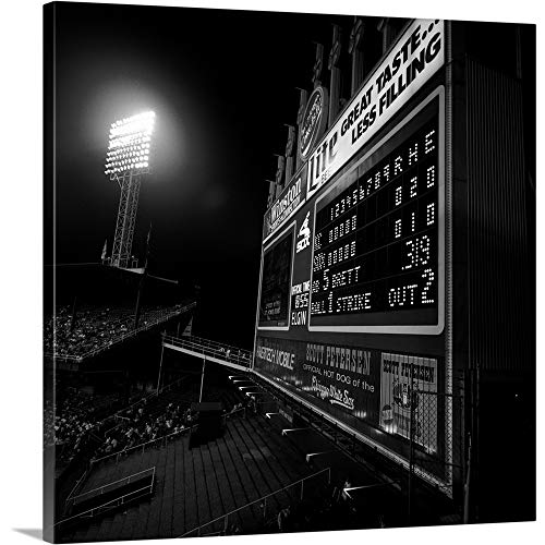 (GREATBIGCANVAS Gallery-Wrapped Canvas Entitled Scoreboard in a Baseball Stadium, U.S. Cellular Field, Chicago, Cook County, Illinois by 12
