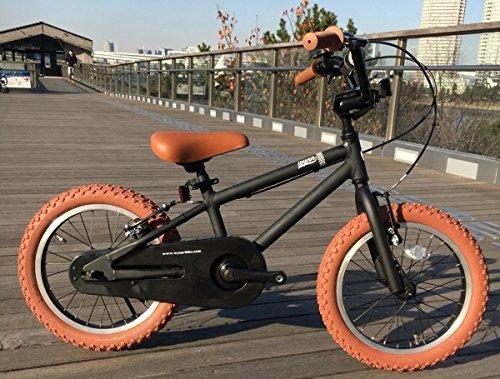 【湘南鵠沼海岸発信】16インチBMX 《RAINBOW Wynn16 16inch》 子供用自転車 16インチ B078FTFJJHマットブラック×ブラウンタイヤ