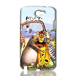 Madagascar Pattern Hard Durable 3D Cover Rough Skin Case for Samsung Galaxy N2 Note 2