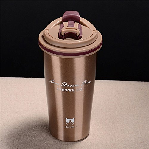 Rurah Travel Coffee Mug Thermos 304 Stainless Steel Vacuum Flask Coffee Cup Insulated Cup,Gold