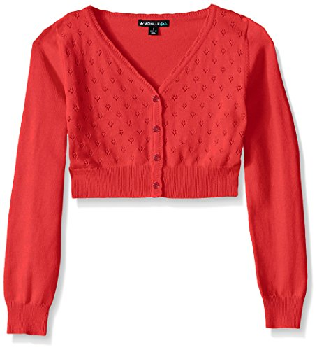 My Michelle Big Girls' Heart Pointelle Long-Sleeve Cardigan Sweater