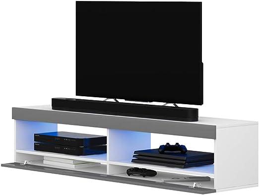 Selsey Mueble para Televisor Blanco Mate y Gris Brillante, 100 x 40 x 40 cm: Amazon.es: Hogar