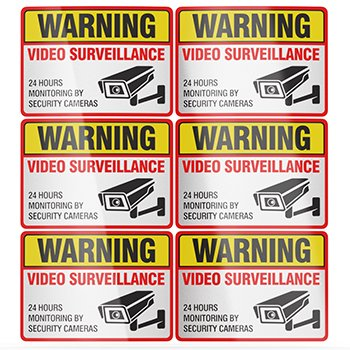 "Video Surveillance Stickers - 6pk Reflective Sign / Decal with UV Waterproof Coating - 2½"" X 3½"" from crbn"