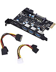 PCI-E to Type C (2), Type A (3) USB 3.0 5-Port PCI Express Expansion Card and 15-Pin Power Connector, Mini PCI-E USB 3.0 Hub Controller Adapter, with Internal USB 3.0 19-PIN Connector for Window 7/8/10/XP/Vista. (3A2C)