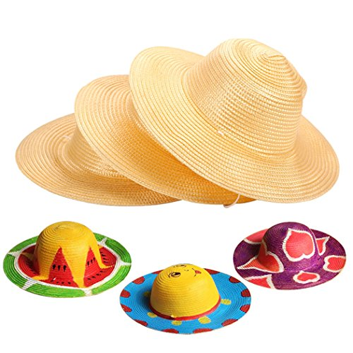 Straw Hat, Coxeer 6PCS Straw Hat Cap Beach Sun Hat Creative Art Painting Straw Hat for Kids Adults Birthday Party Hats Childrens DIY Straw Summer Hats by Coxeer (Image #1)