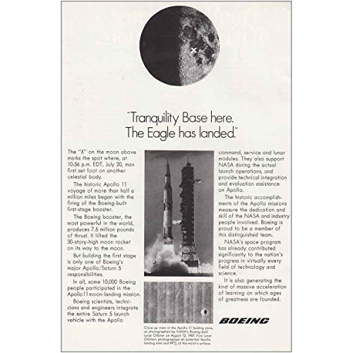 RelicPaper 1969 Boeing: Tranquility Base Here The Eagle Has Landed, Boeing Print Ad (Tranquility Base Here The Eagle Has Landed)