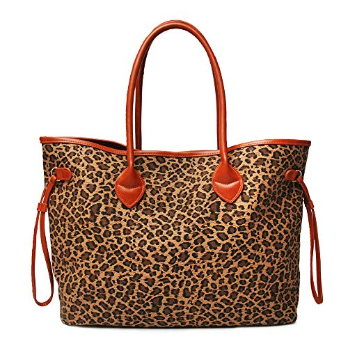 Women Leopard Shoulder Bags Purses Over sized Stylish Sturdy Canvas Weekender Beach Tote Handbag (Small Size) - Leopard Print Canvas Tote