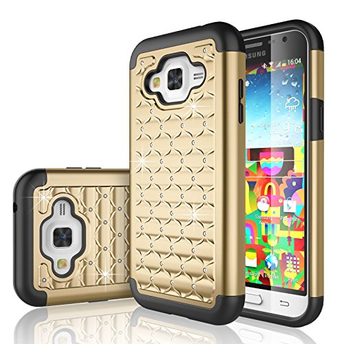 Galaxy Sky Case, J3/J3 V Case, Express Prime Case, Amp Prime Case, Tekcoo [Tstar] [Champagne Gold] Studded Rhinestone Crystal Bling Rubber Defender Plastic Rugged Hard Cover for Samsung Galaxy Sol