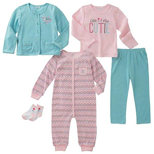 absorba Infant 5-Piece Set (Jacket, Shirt, Bodysuit, Pant and Socks) (6M, Pink Hound - Zigzag)