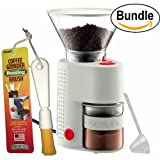 Bodum BISTRO Burr Grinder, Electronic Coffee Grinder with Continuously Adjustable Grind, Brushtech Coffee Grinder Dusting Brush & Zonoz One-Tablespoon Plastic Clever Scoop (Bundle) (White Bundle)