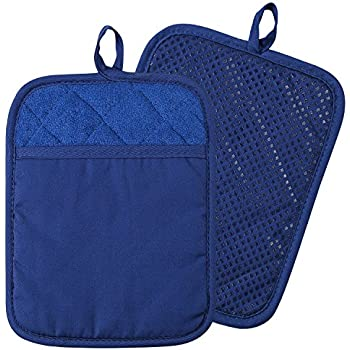 100% Cotton with Silicone Kitchen Everyday Basic Pot Holder Heat Resistant Coaster Potholder Oven Mitts with Pocket for Cooking and Baking Set of 2 Blue
