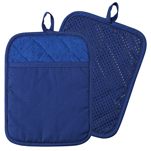 100% Cotton with Silicone Kitchen Everyday Basic Pot Holder Heat Resistant Coaster Potholder Oven Mitts with Pocket for Cooking and Baking Set of 2 Blue (Blue Pot Holders)