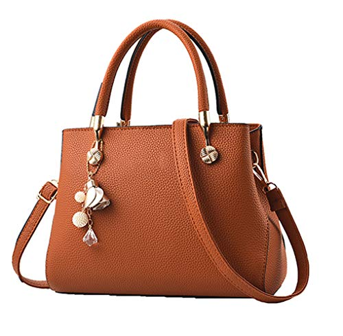 Handbags for Women Fashion Ladies Purses PU Leather Satchel Shoulder Tote Bags (Brown)