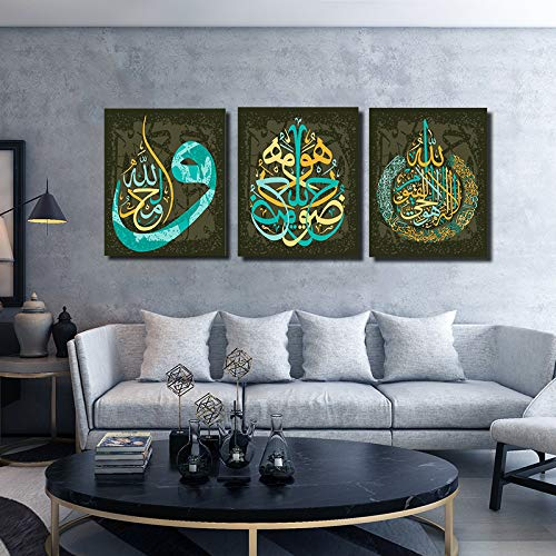 Orlco art Arabic Calligraphy Islamic Handmade Pictures Wall Art Oil Paintings on Canvas 3 pcs for Living Room Home Decorations Wooden Framed Black Silver 24x36inchx3PCS