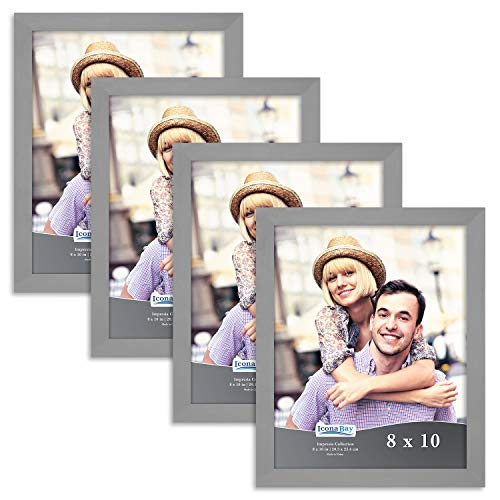 Icona Bay 8x10 Picture Frame Set (4 Pack, Gray) 8 x 10 Frame, Tabletop and Wall Hang Photo Frames, Impresia Collection ()