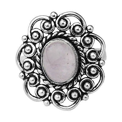 925 Sterling Silver Rose Quartz gemstone Oval Ring Size 7 US 4.83 g