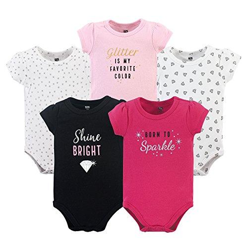 HUDSON BABY Unisex Baby Cotton Bodysuits, Sparkle 5 Pack, 0-3 Months (3M)