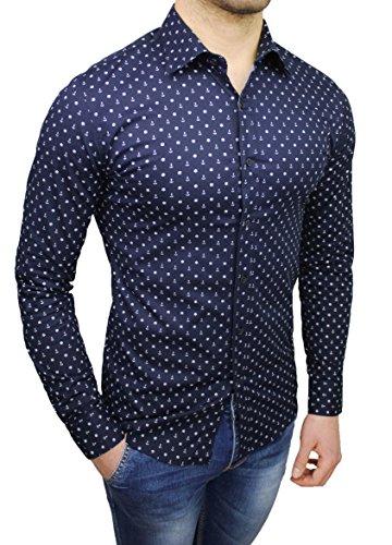 Mat Sartoriale Herren Freizeit-Hemd blau dunkelblau Large