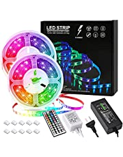 F Flashable LED Lights 10m Strips 32.8ft with AU Plug, 44 key IR remote, 5050 RGB LED Strip, 300 Flexible Color Changing LED Lights Strip for Bedroom, Living Room TV, Kitchen, Staircases and DIY Decor