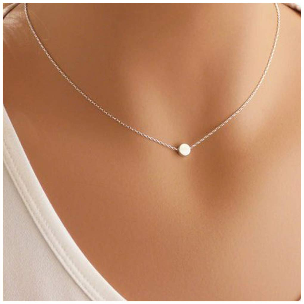 Yfe Simple Dot Necklace Jewelry Silver Tiny Dot Necklaces for Women and Girls Minimal Charm Necklace (Dot-Silver)