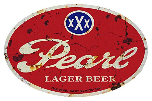 Garage Art Signs Aged Pearl Lager Beer Oval Bar Reproduction Metal Sign 11x18
