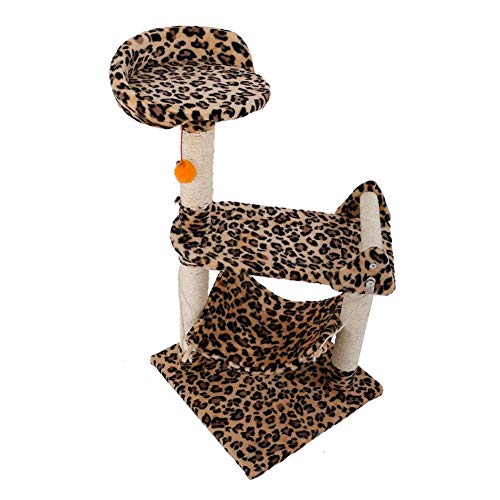 Shuixiang Cat Tree Leopard Print M32 32 inch Stable Sisal Cat Climb Holder Cats Tower Tree Toy (Condo Print Cat Leopard)