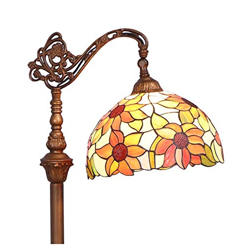 Sunflowers Reproduction - Bieye Orange Sunflower L10515 Tiffany Style Stained Glass Reading Floor Lamp with 12 inch Wide Shade, Light Direction is Adjustable, 65 inch Tall
