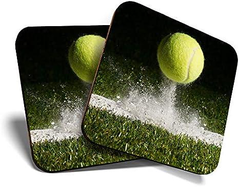 Great Coasters (Set de 2) Posavasos cuadrados/brillantes de calidad para cualquier tipo de mesa, juego de tenis y deportes #14656